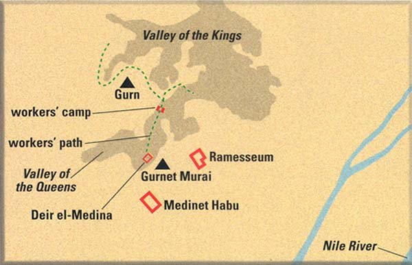 Pharaohs Workers How The Israelites Lived In Egypt The BAS Library - Map of egypt showing valley of the kings
